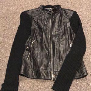 Jacket Leather Moto  and sweater jacket size small